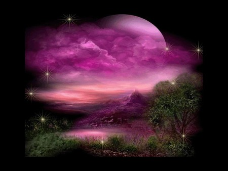 FANTASY WORLD - pink, moon, world, fantasy