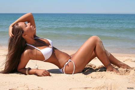Girl on Beach - girl, hot, in white, on beach, picture