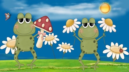 Spring Frogs - frogs, sun, grass, mushroom, firefox persona, spring, clouds, daisies, cute