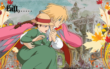 Howls Moving Castle - fall, howls moving castle, sweet, cute, cool, moving, anime, x, castle, hows