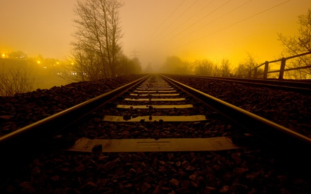 Night Train - dusk, photography, railroad, fog, abstract, tracks, beautiful, surreal