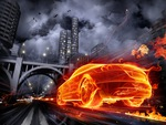 fast burning car