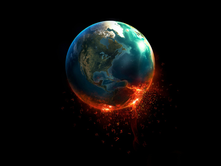 end of life - fire, earth, planet, space