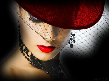 Red hat - veil, beauty, red hat, woman, jewellry, red lips