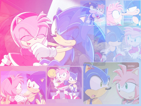 Sonic and Amy - colorful, amy, video games, sonic, sonic x