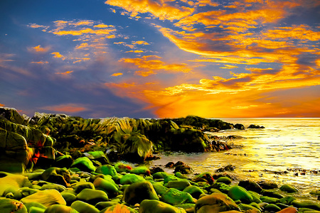 Its This Real - rocks, beach, sky, wave, bright