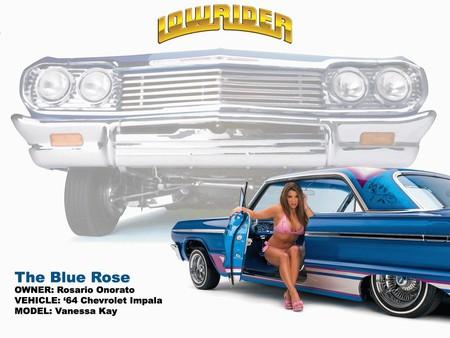 Lowrider - car, lowrider, blue, girl