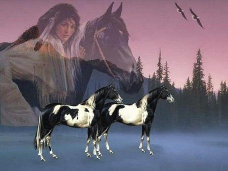 indian and Mustang - horses, animals, nature, indian, trees, mustang