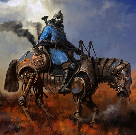 Steampunk Soldier - fantasy, mechanical, soldier, steampunk, horse, abstract, artwork