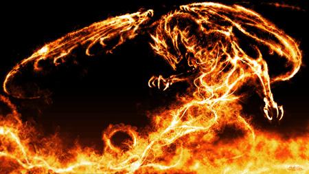 Fire Dragon - flames, wings, fire, dragons, black background, cool, fantasy, orange, black, dragon