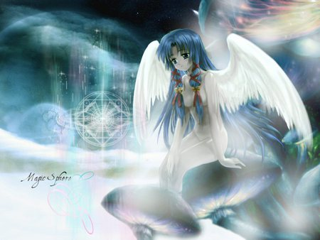 Magic Sphere - wings, colors, lights, hair, water, girl, planet, wallpaper, anime, blue