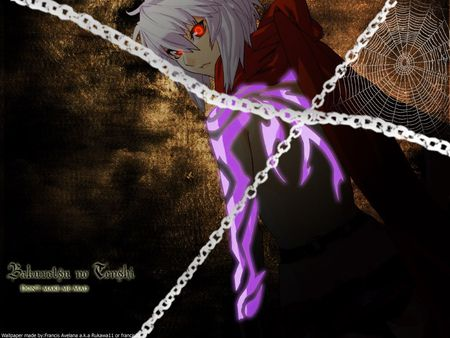 Burst Angel Jo - white hair, tattoo, black, chains, jo, spider web, short hair, bakuretsu tenshi, purple, anime, dark, scarf, anime girl, burst angel, red eyes