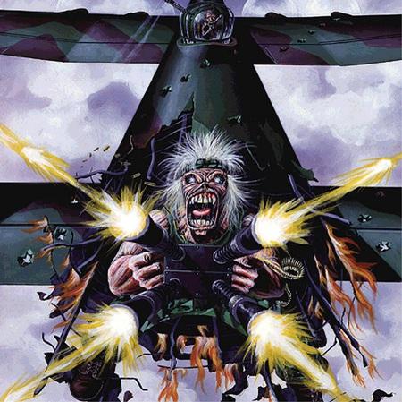Tail Gunner - abstract, dark, firing, fantasy, iron maiden, plane, character, guns, artwork