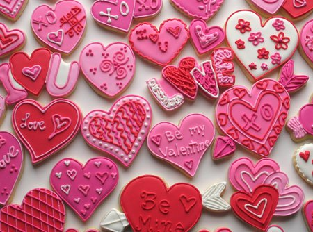 Valentine Cookies - hearts, valentine, pink, red, cookies