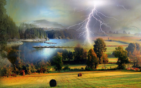 Landscape - hills, cloud, grass, trees, hay, lake, valley, lightning, jetty, mountains, pasture, landscape