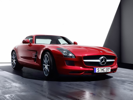 Mercedes Benz-SLS AMG - car, mercedes, exotic, amg, tuning, benz, 2011, sls, red