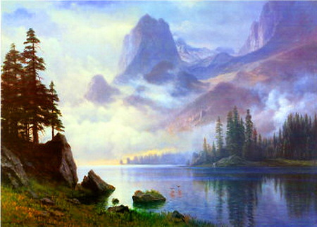 Awakening mists - rocks, trees, clouds, water, cliffs, mountains, morning, reflections, mists