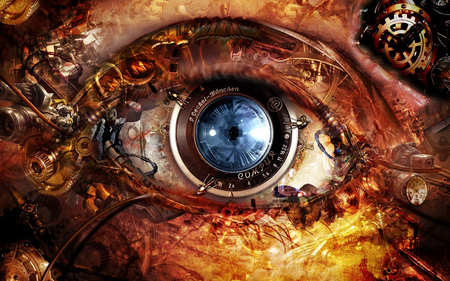 Through Steampunk Eyes - steampunk, eye, abstract, artwork, fantasy, cogs, gears, dials, lens
