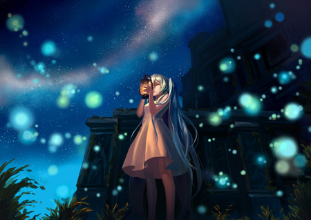 Hatsune Miku - light, white, white clouds, anime, glow, cute, dress, diva, vocaloids, awesome, idol, flowers, sky, music, vocaloid, cool, white dress, girl, clouds, buildings, aqua, black, hatsune miku, virtual, cathedral, blue skiy, song, aqua hair, singer, miku, program, blue, nice, beauty, beautiful, aqua eyes, hatsune, stars, twintail, pretty, green, anime girl, latern
