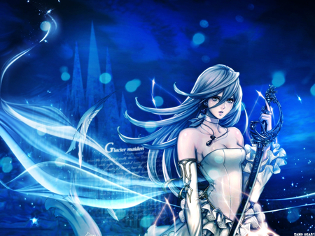 Glacier Maiden - pretty, dress, fighter, video game, game, beautiful, sweet, nice, blade, anime, hot, beauty, anime girl, weapon, long hair, sword, blue, female, sexy, rpg, cute, warrior, girl, blue hair, blue eye, aqua hair, maiden