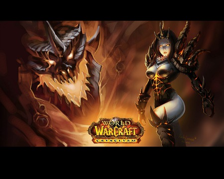 Deathwing Female World Of Warcraft Video Games Background