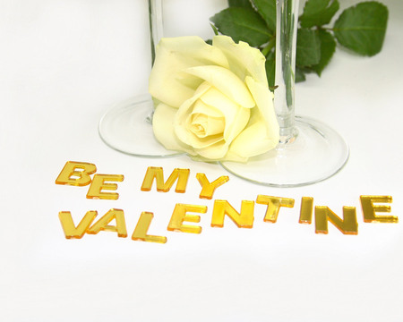 Be my Valentine - rose, love, flower, glasses, yellow, valentine