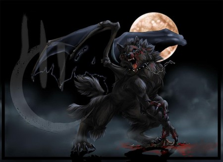 DARK WOLF - moon, dark, blood, wolf