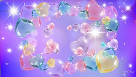 Valentines in Pastel - hearts, purple, stars, pink, valentines day, bright
