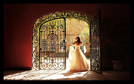 Beautiful Day - gate, female, courtyard, sun, gown, trees, woman, photography, girl
