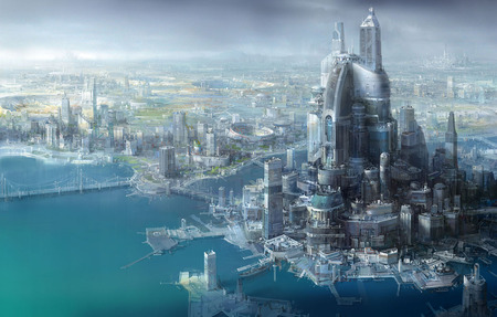 Futuristic City - high rise, buildings, futuristic, fantasy, city, water, dock, future, bridge