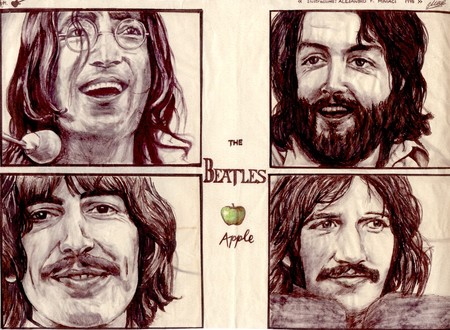 The Beatles, Illustration - harrison, classic rock, british, starr, mccartney, lennon