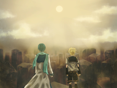 Waste Land - vocaloid, len, sun, setting, yellow, barren, clouds, kaito, green, waste, guys, anime, nothingness, standing, kagamine, land