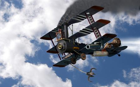 Steampunk Tri-Plane - steam, wings, boiler, abstract, fantasy, wheels, smoke-stacks, tri-plane, grapple, cannon, artwork