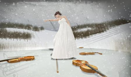 Music of my heart - snow, music, quitar, heart