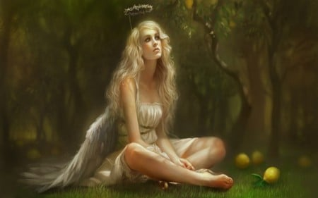 GOLDEN ANGEL - wings, grass, golden, halo, trees, blonde, angel, yellow, forest, dress, fantasy, woman, green, lemons, female, leaves