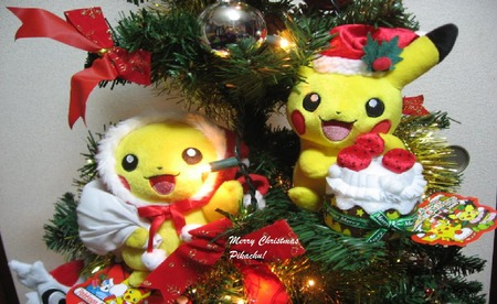 Christmas Pikachu's - christmas, holiday, holly, pokemon, peace, pikachu, cute, tree, remember, jingle, love, bells