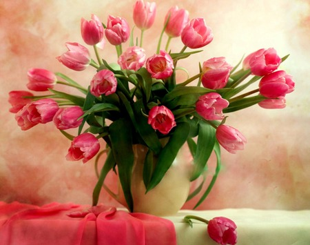Beautiful Pinks (For Kent One) - still life, pink tulips, pink fabric, flowers, vase, tulips, tablecloth
