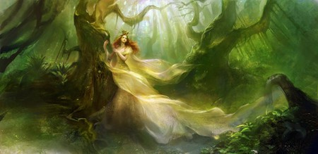 QUEEN OF THE FOREST - forest, fantasy, queen, female, trees