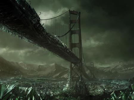 Total disaster - disaster, total, wall, fantasy, 3d, bridge, wallpaper