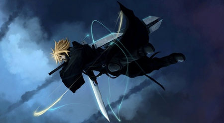 Cloud Strife - swords, cloud, black, video games, blonde hair, advent children, cloud strife, anime, final fantasy