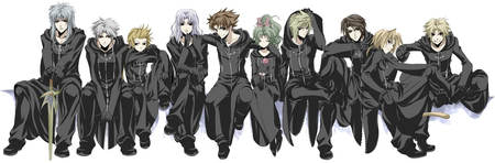 Cosmos Crew - warrior of light, ff7, bartz klauser, ff2, squall leonhart, luneth, bartz, tidus, group, anime, onion knight, final fantasy, ff9, squall, final fantasy dissidia, ff6, ff3, cloud strife, firion, characters, tina branford, games, ff4, video games, alternate clothing, ff8, white background, final fantasy series, ff1, cloud, cecil, zidane tribal, zidane, ff5, cecil harvey, terra, dissidia, cloak, ff10, terra branford, ff dissidia