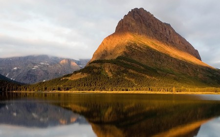 golden mountain - water, sky, clouds, reflection, nature, mountain, lake