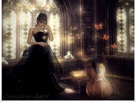 it has been so long - dress, cg, music, abstract, cello, fantasy, butterfly, girl, wallpaper, beauty