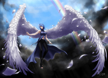 Konan - wings, naruto, angel, beautiful, rainbow, sky, girl, blue hair, anime, beauty, paper, konan, blue