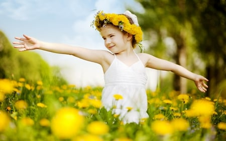 THE SWEET SPRING - yellow, girl, flowers, enjoyment, spring, field, kid, happy