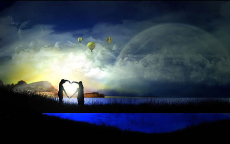 FANTASY - fantasy, blue, sky, moon, cloudswater, heart, air ballons