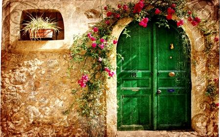 VINTAGE LOVELINESS - stone, pattern, vintage, door, house, loveliness, crimson flowers, old city