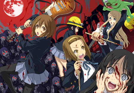 K-On Zombies - tainaka ritsu, horror, parody, kotobuki tsumugi, moon, left for dead, scary, kiyama mio, terror, k-on, nakano azusa, hirasawa yui, blood, zombies, guitar, red moon, awesome, seifuku, red eyes