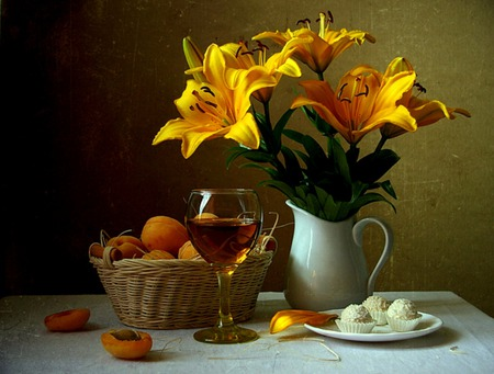 Just Peachy - still life, cookies, basket, peaches, flowers, plate, pitcher, wineglass