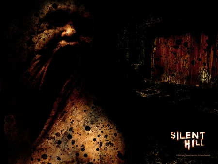 Silent Hill - red, silent, silent hill, video game, game, horror, video, face, hill, bloody, window, shadow, black, blood, horror game, darkened, dark